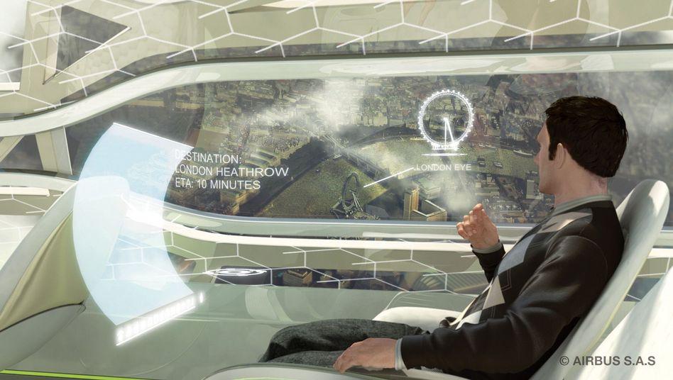 So könnte eine Landung in Zukunft aussehen: Das Fenster wird zum Display