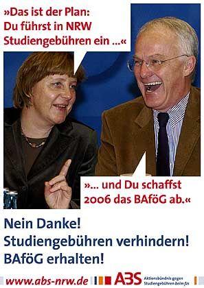 Mekel und Rüttgers: Plakat der Gebührengegner zum NRW-Wahlkampf