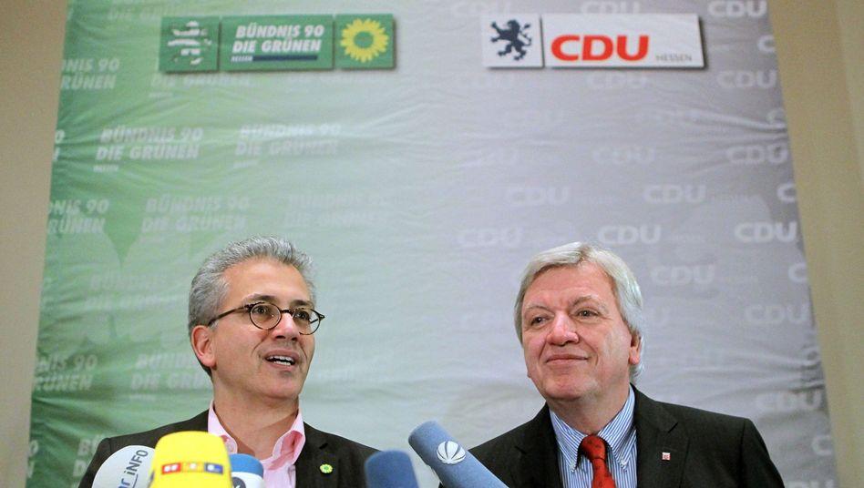 """Parteichefs Al-Wazir, Bouffier: """"Der Vertrag steht"""""""