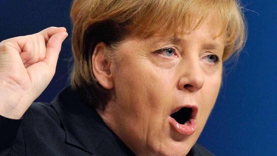 Angela Merkel holding her speech at the CDU party congress on Monday.