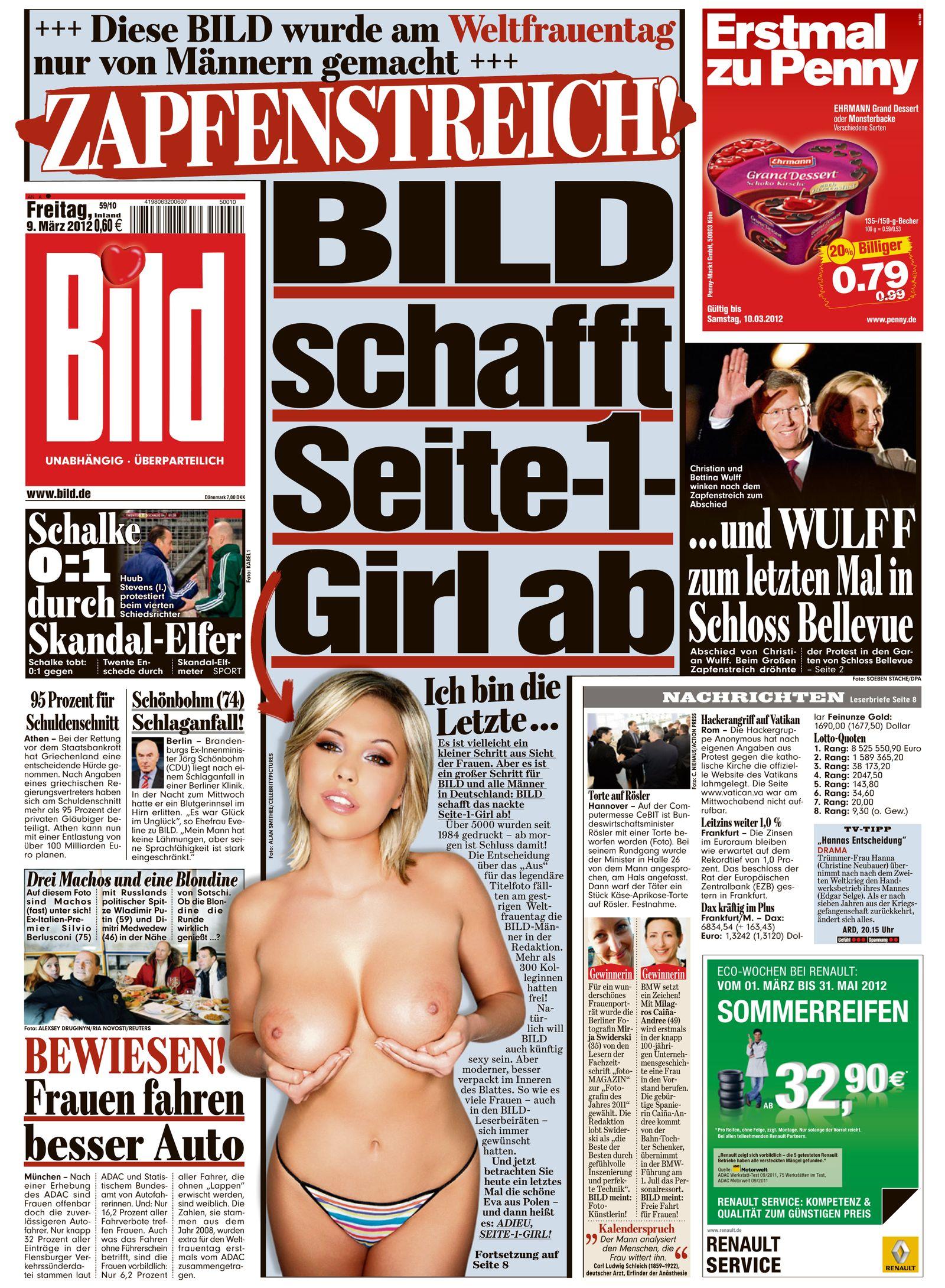 EINMALIGE VERWENDUNG NUR ALS ZITAT BILD-Zeitung / Seite-1-Girl