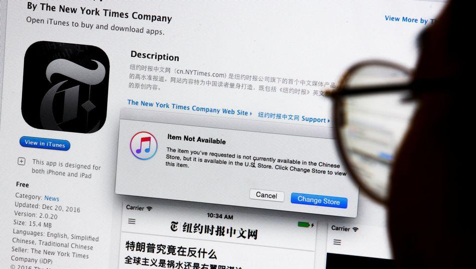 """""""New York Times""""-App im chinesischen App Store von Apple"""