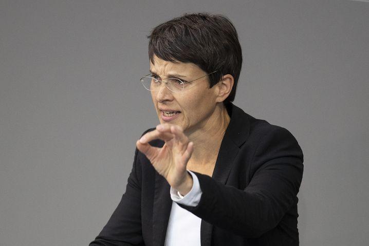 Ex-AfD-Politikerin Frauke Petry bei einer Bundestagsrede im April 2020