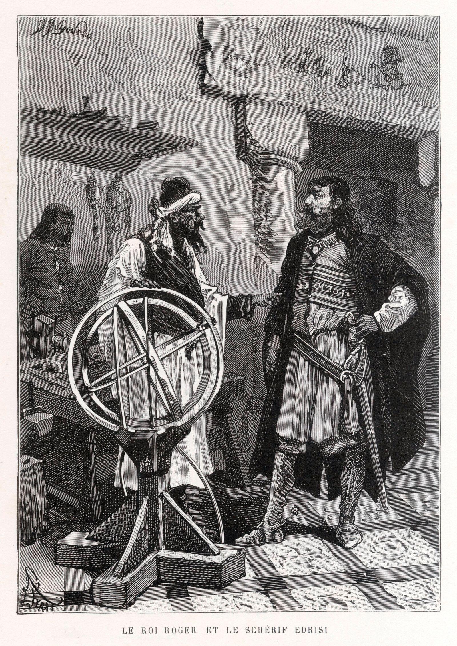 AL-IDRISI Le roi ROGER II (1095-1154) de Sicile et le scherif EDRISI (vers 1100- vers 1170) (montrant son planisphere en