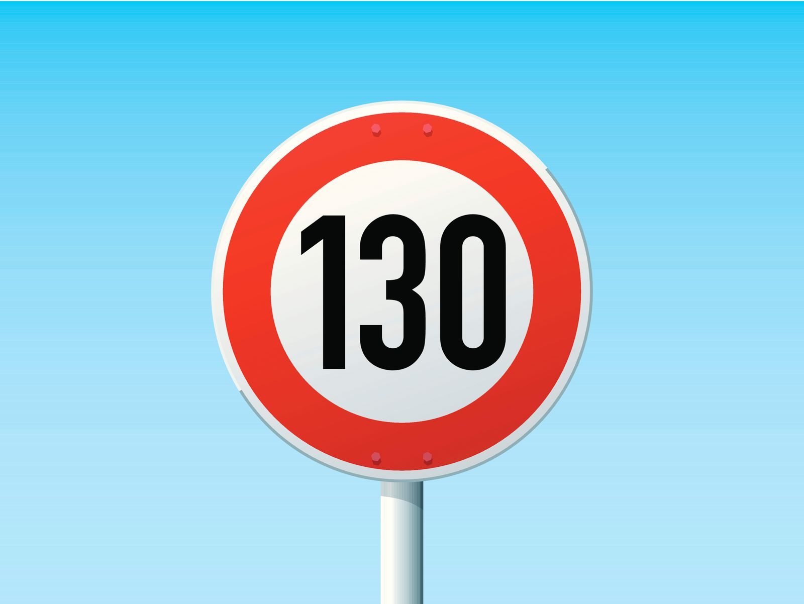 German Road Sign Speed Limit 130 kmh