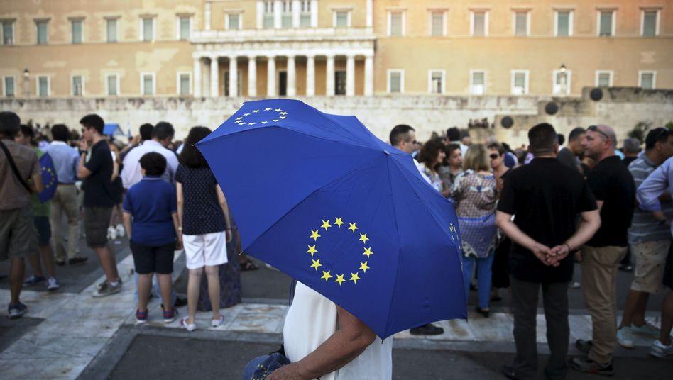 Sie wollen den Euro behalten: Demonstranten in Athen