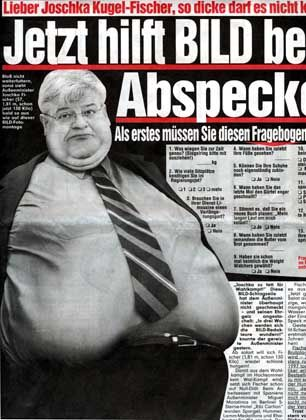 Ex-Foreign Minister Joschka Fischer was targeted by Bild for gaining a bit of weight. The photo was manipulated, of course.