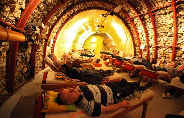 Patients here lie in Germany's only radon bath in the town of Bad Kreuznach.