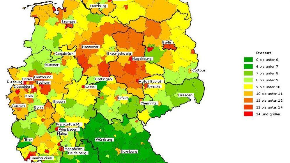 Atlas der Pleitebedrohten: Überschuldung in Deutschland