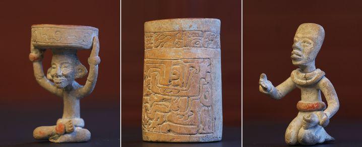 Unter den Fundstücken aus dem Keller in Klötze: eine Tonfigur mit Kerzenhalter, die Huehueteotl, den Feuergott der Teotihuacán, darstellen soll (l.)