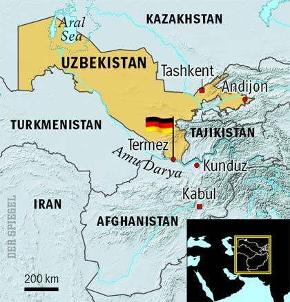 The base in Uzbekistan provides the Germans with a strategic base on the Afghanistan border.