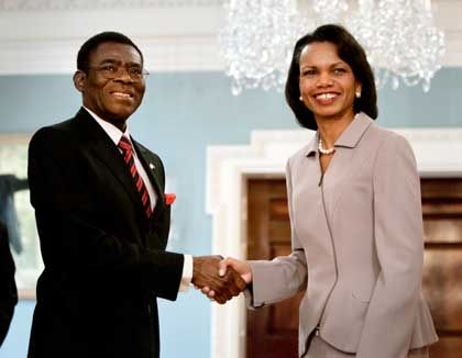 Equatorial Guinea President Teodoro Obiang at a meeting with US Secretary of State Condoleezza Rice: The easiest way to earn Washington's graces is to discover oil.