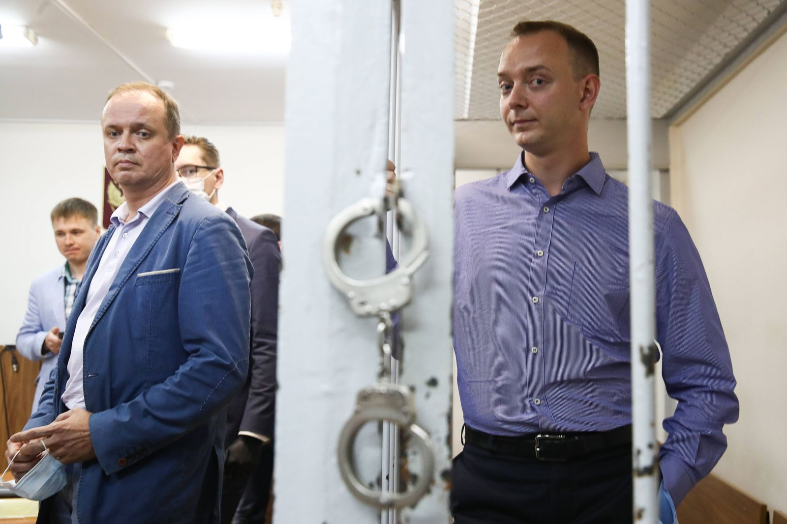 MOSCOW, RUSSIA - JULY 7, 2020: Ivan Safronov (R), adviser to the Roscosmos State Corporation General Director, detained