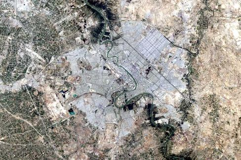 A satellite image of Baghdad.