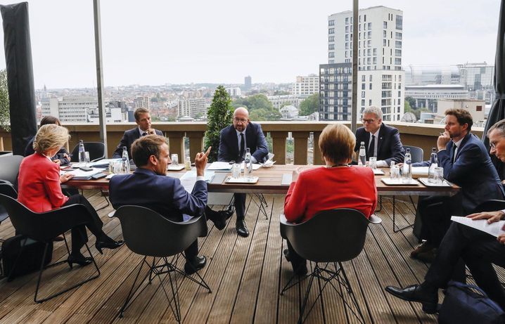 EU leaders at last week's summit in Brussels: Critics say the closing statement for the crucial meeting glossed over the issue of rule of law with a compromise formulation.