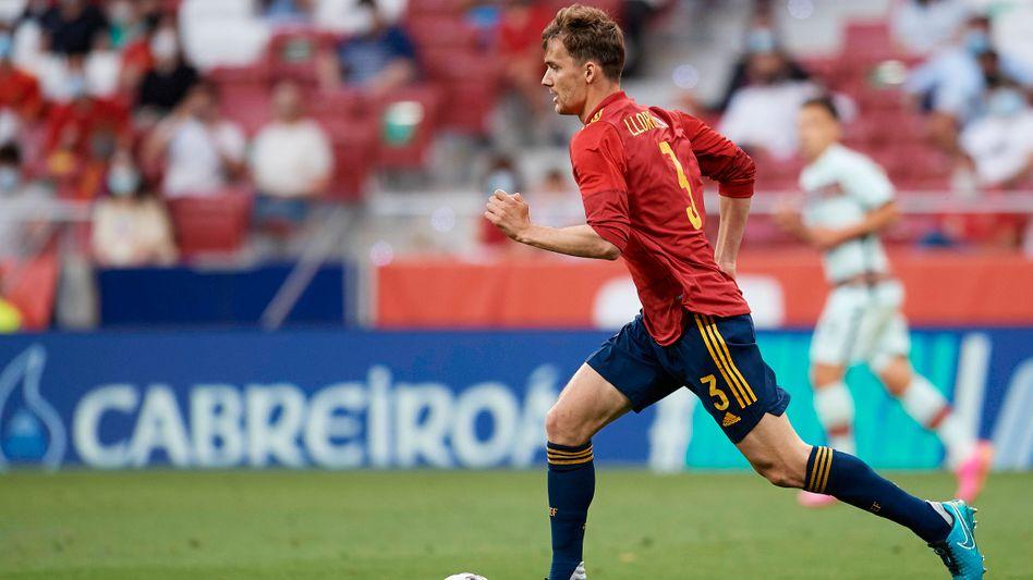 Diego Llorente während eines Freundschaftsspiels zwischen Spanien und Portugal