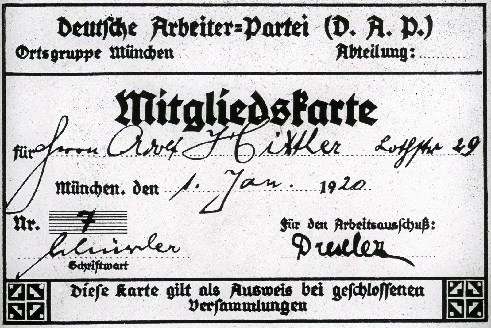 DAP-Mitgliedskarte von Adolf Hitler
