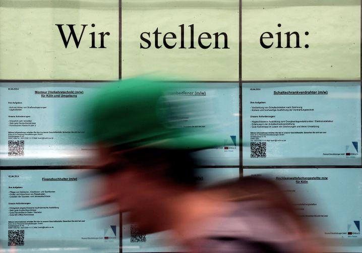 Stellenanzeige einer Leiharbeitsfirma in Köln, 2014