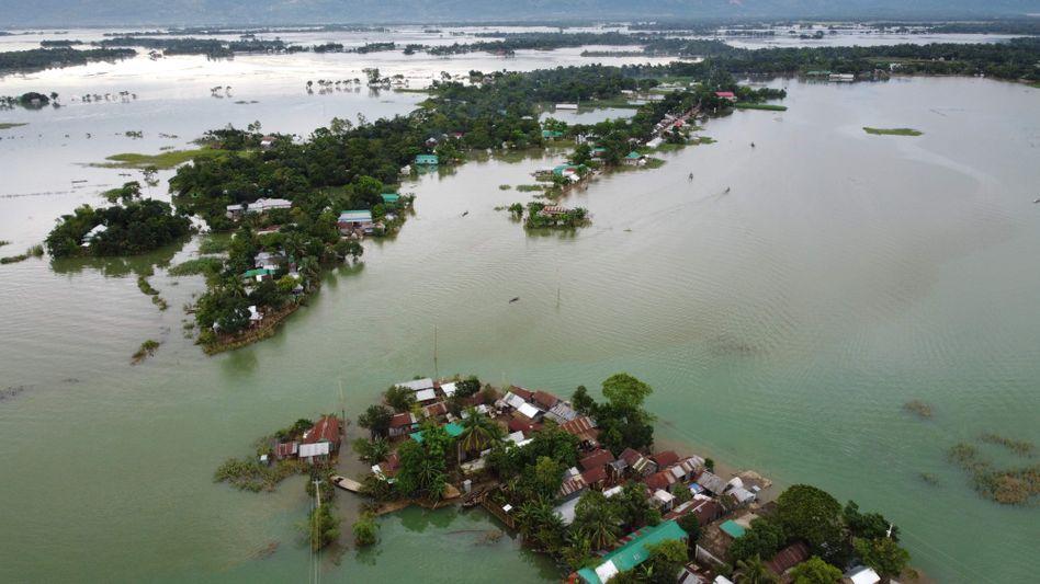 """Eine Luftaufnahme aus dem Norden Bangladeschs: """"Ein Fluss wie ein Meer"""""""