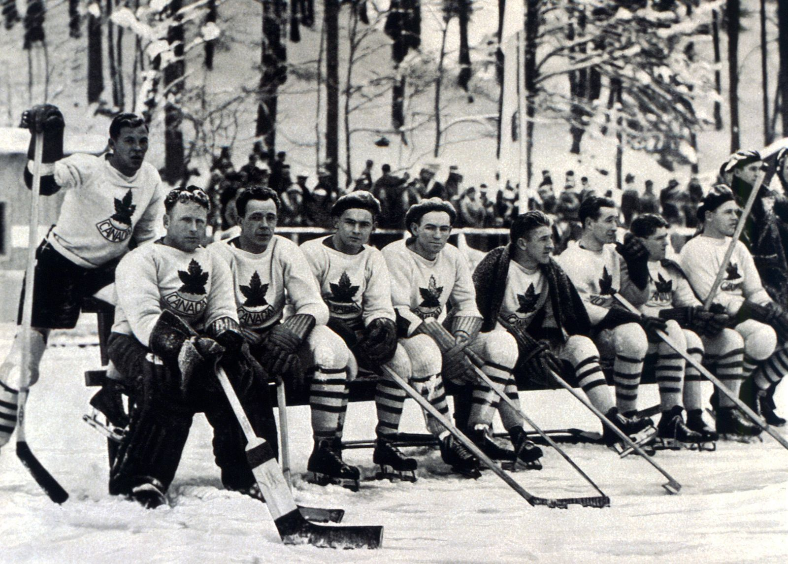 Winter Olympics 1936 - Garmisch and Partenkirchen in Bavaria, Germany. Canada ice hockey team, the favourites, who coul