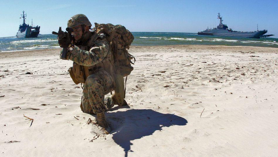 US-Soldat bei einer Übung in Nemirseta, Litauen (Archiv): Manöver in der Westukraine geplant