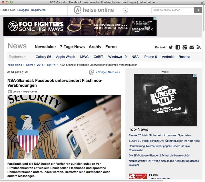 """Artikel beim Tech-Magazin """"Heise"""": Arbeitet Facebook für die NSA?"""