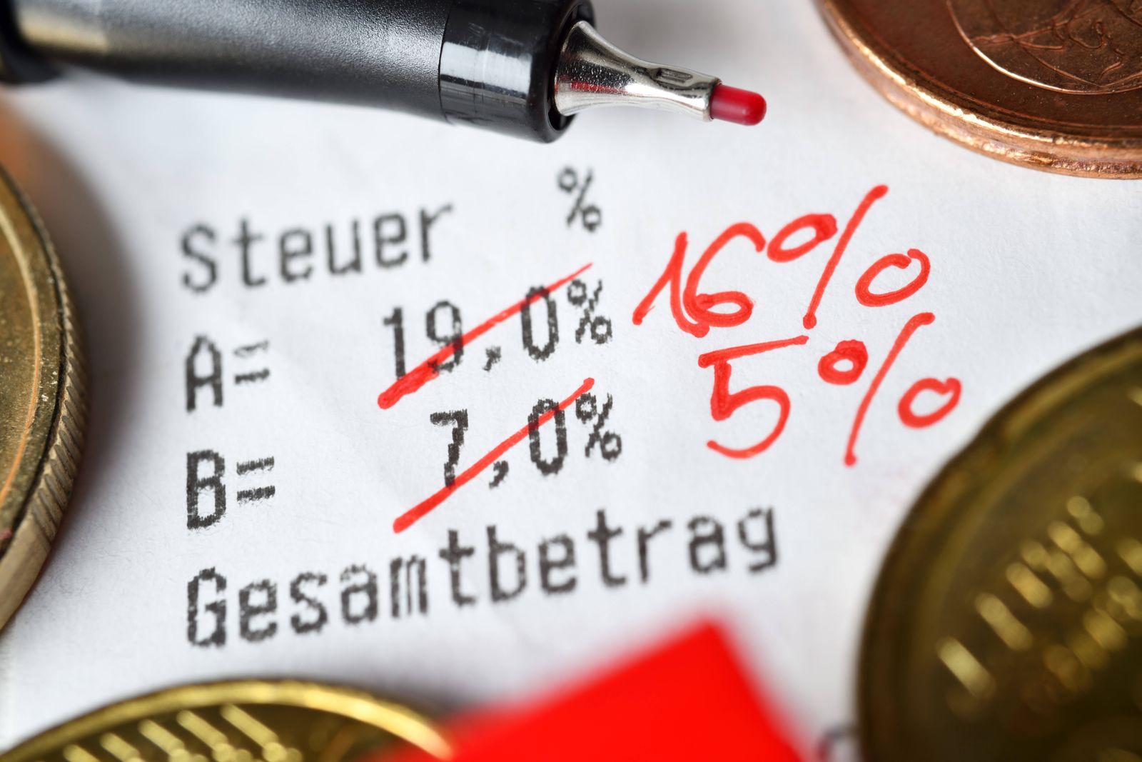 News Bilder des Tages Durchgestrichene Mehrwertsteuersätze auf einem Kassenbon, Symbolfoto für gesenkte Mehrwertsteuer z