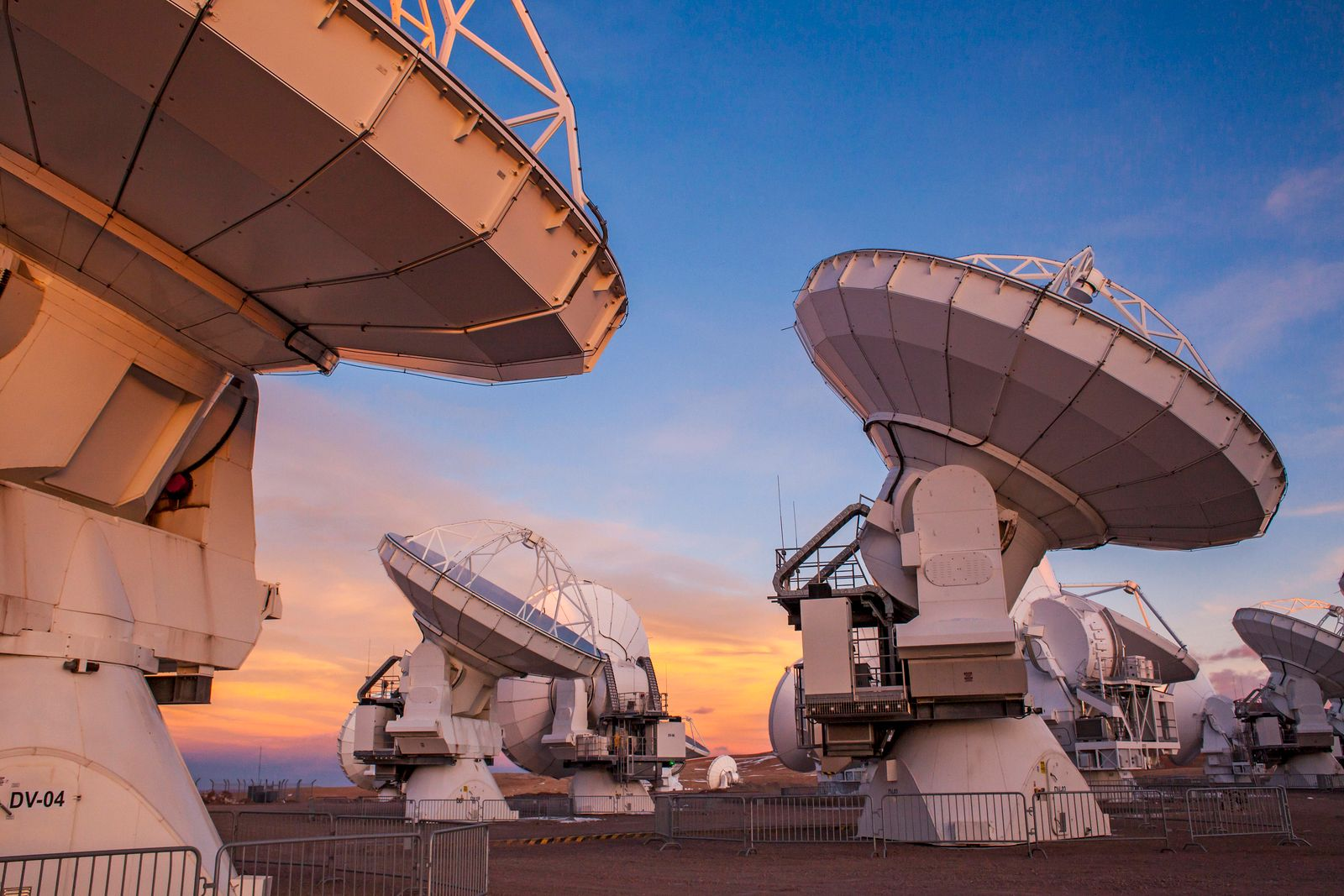 ALMA observatory, Antennas in plain of Chajnantor, 5000 meters of altitude,Array Operations Site (AOS), Atacama desert.