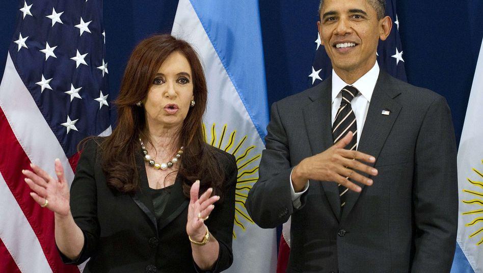 Die argentinische Präsidentin Cristina Fernández de Kirchner und US-Präsident Barack Obama: Anruf des Internationalen Gerichtshofs