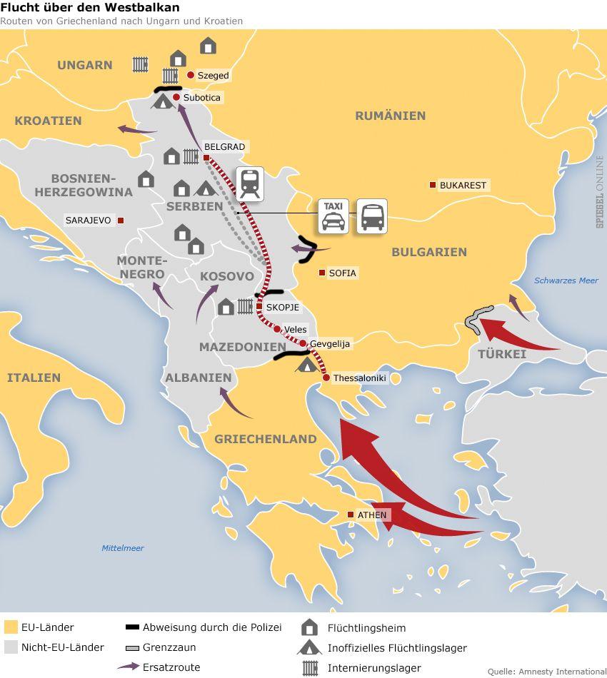 GRAFIK KARTE Flucht über den Westbalkan