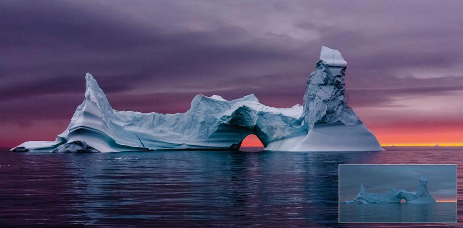 Bearbeitetes Foto einer Eisformation