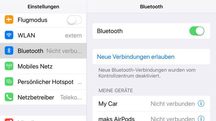 Nur in den Einstellungen von iOS11 lässt sich Bluetooth komplett abschalten
