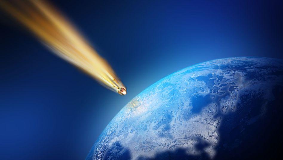 Meteorit im Anflug (grafische Darstellung): Untypische Nukleinbasen an Bord