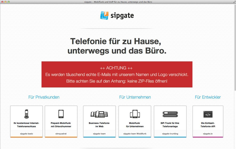 EINMALIGE VERWENDUNG Screenshot/ Sipgate Website