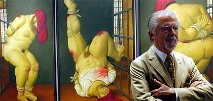 Künstler Botero (vor seinem Folter-Triptychon, 2005 in Venedig): Kriegszeitalter am Kreuzweg