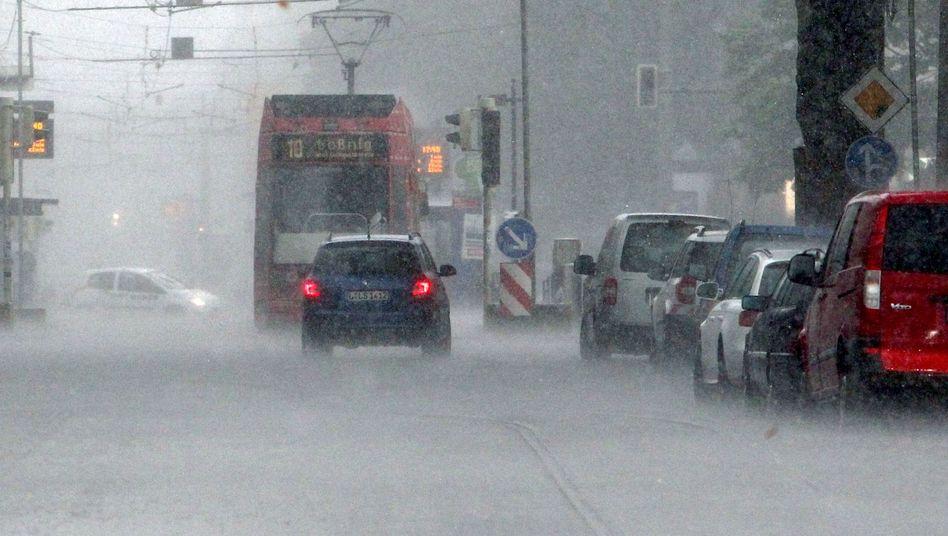 Regen bei einem Gewitter in Leipzig (im Sommer 2014)