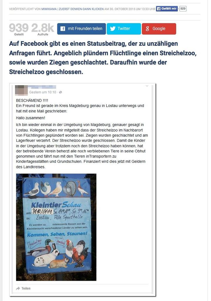 A screenshot of the Facebook posting about the alleged slaughtering of goats at the Lostau petting zoo.