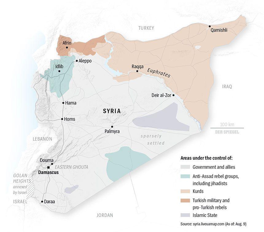 ENGLISCHE GRAFIK - DER SPIEGEL 33 - Seite 84 - Syria - Areas under the control of...