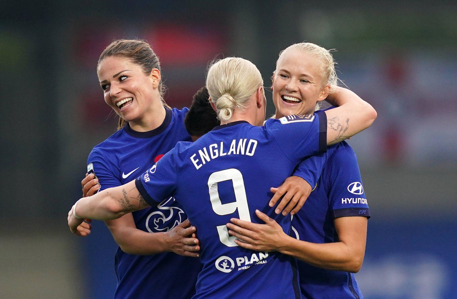 Chelsea v Everton - FA Women s Super League - Kingsmeadow Cheslea s Pernille Harder (right) celebrates scoring her side