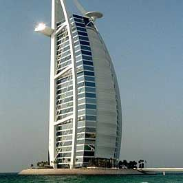 The Burj al-Arab hotel in Dubai is located on an artificial island. It's the tallest hotel in the world.