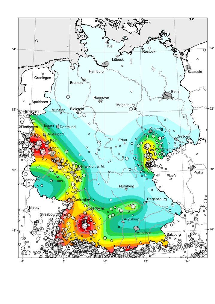 Erdbebenrisiko in Deutschland, registrierte Beben seit dem Jahr 1000
