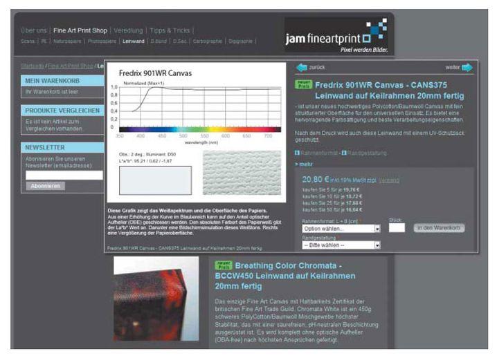 jam fineartprint verspricht perfekte Qualität und unterlegt dies mit technischen Details zu fast allen verwendeten Materialien.