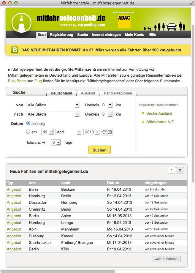 NUR ALS ZITAT Screenshot mitfahrgelegenheiten.de