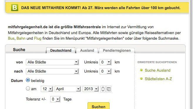 Mitfahrgelegenheit.de (Screenshot): Alle Fahrten über 100 Kilometer werden gebucht