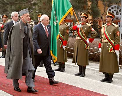 US Vice President Dick Cheney and Afghan President Hamid Karzai in Kabul in February. The Americans have lost a lot of credibility in the country.