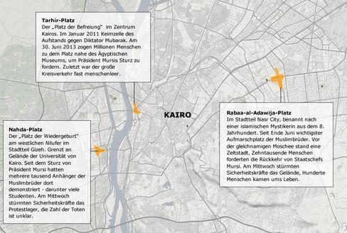 Kairo auf einen Blick: Die wichtigsten Schauplätze der vergangenen Tage