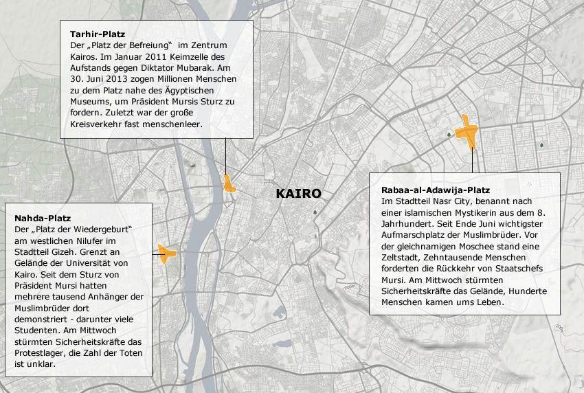 Karte Kairo Proteste 16.8.13