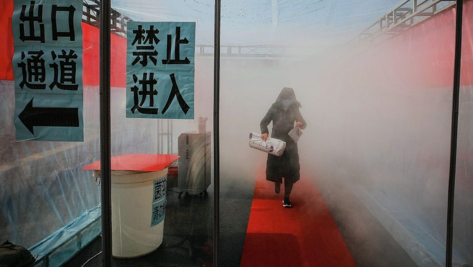 A woman is sprayed with disinfectant in Tianjin, China.