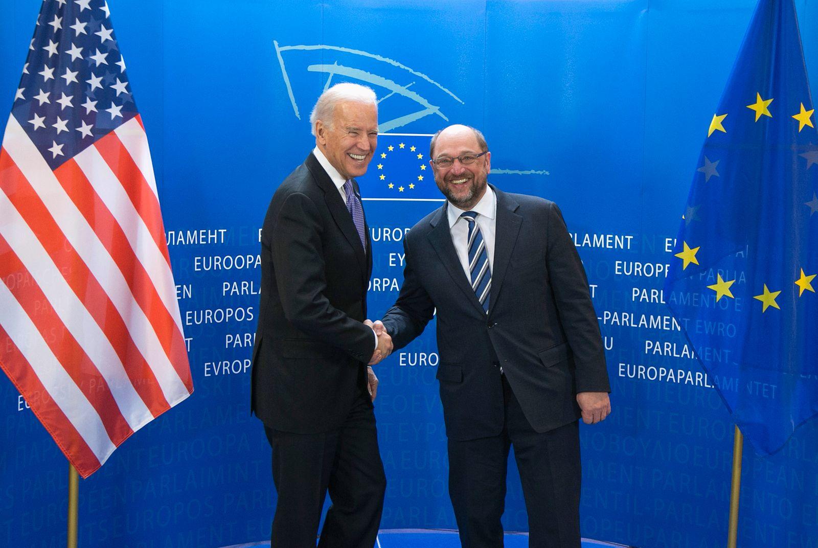 European Parliament President Schulz welcomes U.S. Vice President Biden at the EU Parliament headquarters in Brussels