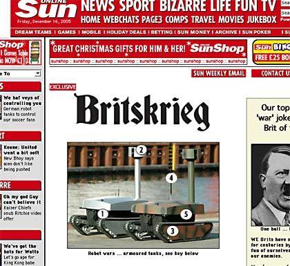 """Screenshot der """"Sun""""-Homepage: Lustige Miniaturpanzer bedrohen britische Hooligans"""